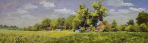 Abel Groenewold boerenhoeve met zon 36 x 122 cm acrylverf op paneel
