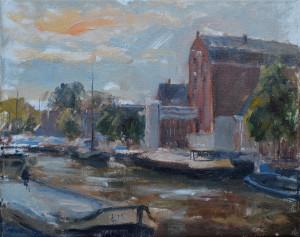 Marcel Duran - Noorderhaven (Groningen) - 24 x 30 cm - olieverf op doek