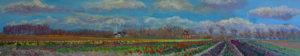 Gertjan Scholte-Albers bollen bij Uithuizermeeden 30 x 160 cm olieverf op doek