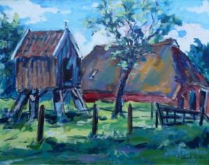 Arie Zuidersma boerderij met duiventil (Noord Groningen 1980) 60 x 75 cm acrylverf op doek Euro 4750,00