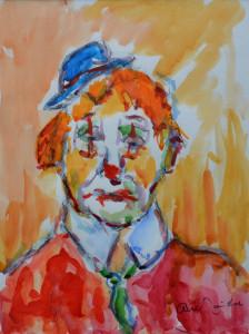 Arie Zuidersma clown 40 x 30 cm aquarel
