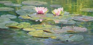 Geke Steenmetz waterlelies 60 x 120 cm olieverf op doek