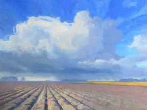 Rutger Hiemstra regen op de ploegvoren 60 x 80 cm olieverf op doek