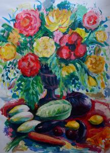 Annemarie de Groot stilleven met bloemen 100 x 75 cm gemengde techniek op papier