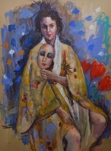 Annemarie de Groot vrouw met masker 100 x 75 cm gemengde techniek op papier