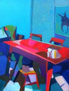 Brunet Riegstra - hond boven tafel - 40 x 30 cm - acrylverf op linnen