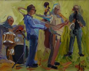 Jannes Koetsier jazzband 24 x 30 cm olieverf op paneel