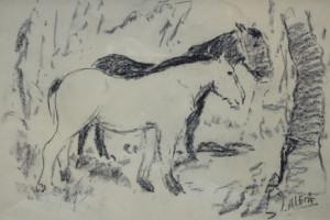 Jan Altink werkpaarden 32 x 48 cm tekening Euro 495,00