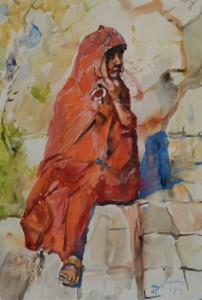 E.B. v Dulmen Krumpelmann Marokkaanse vrouw 47 x 33 cm aquarel Euro 1600,00