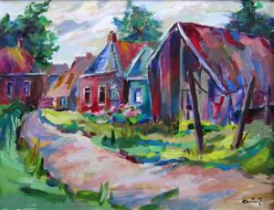 Arie Zuidersma Westeremden (1987) 50 x 65 cm acrylverf op paneel Euro 4200,00