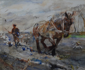 E. B. v Dulmen Krumpelmann ploegende boer 50 x 60 cm aquarel Euro 2250,00