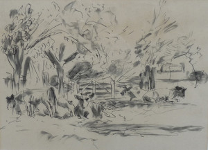 Jan Altink koeien onder bomen 30 x 40 cm pentekening Euro 495,00