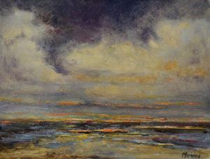 Ineke Mahieu Noordzee 18 x 24 cm olieverf op paneel