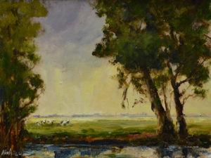 Ineke Mahieu bomen met koeien 18 x 24 cm olieverf op paneel