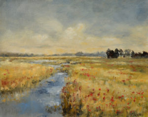 Ineke Mahieu polder met bloemen 24 x 30 cm olieverf marouflé