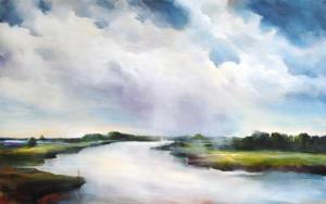 Greetje Feenstra rivierenland 160 x 100 cm acrylverf op doek