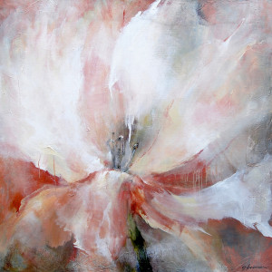 Greetje Feenstra witte tulp 120 x 120 cm acrylverf op doek