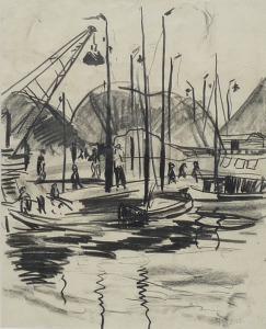 George Martens haventje van Haren 40 x 35 cm POTLOODTEKENING zwart krijt