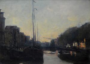 Jan Hillebrand Wijsmuller ( 1855 - 1925) Brouwersgracht bij avond 36 x 48 cm olieverf op doek & board (verdoekt) Euro 800,00