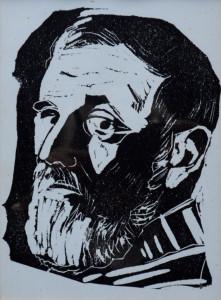Karel Arkema zelfportret 20 x 15 cm linosnede
