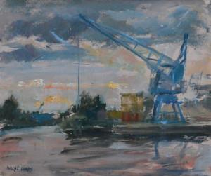 Marcel Duran langs het Eemskanaal 25 x 21 cm olieverf op paneel Euro 525,00