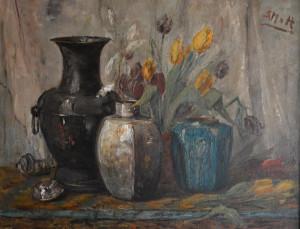 Sientje Mesdag van Houten ( bloemstilleven met tulpen 70 x 90 cm olieverf op doek Euro 4000,00