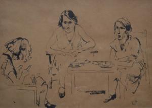 Ekke Kleima dameskransje 30 x 60 cm pentekening
