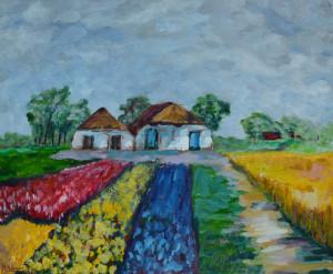 Halbe Hageman boerderij met bollenveld 50 x 60 cm acrylverf op doek