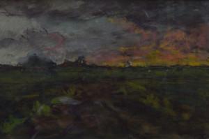 Jan Costerus avondlandschap (Groningen) 26 x 39 cm gemengde techniek