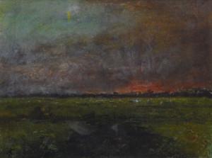 Jan Costerus ondergaande zon (Groningen) 23 x 31 cm gemengde techniek
