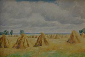 Jan ten Have korenschoven op het land 95 x 140 cm olieverf op doek