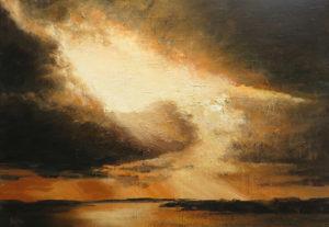 Ben Steijn ondergaande zon (Lauwersmeer ) 70 x 100 cm acrylverf op doek
